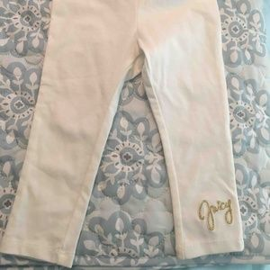 Juicy Couture 18 mo white leggings w/gold JUICY